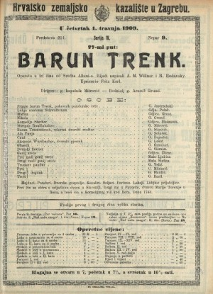 Barun Trenk Opereta u tri čina  =  Baron Trenk