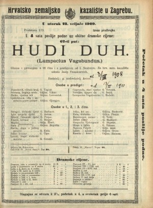 Hudi duh (Lumpacius Vagabundus)  =  Lumpacius Vagabundus : Gluma s pjevanjem u tri čina i s predigrom