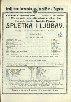 Spletka i ljubav Tragedija u pet činova / od Schillera