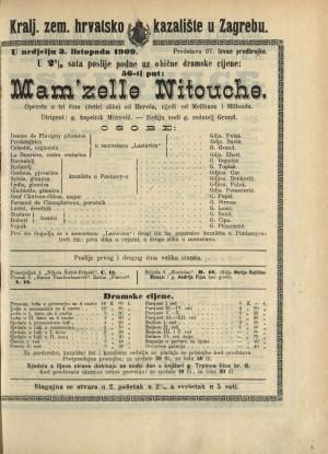 Mam'zelle Nitouche ; Mam'zelle Nitouche Opereta u tri čina (četiri slike) ; Opereta u tri čina (4 slike)  =  Mam'zelle Nitouche