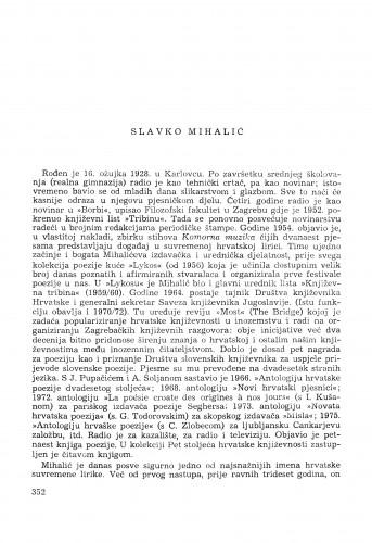 Slavko Mihalić : [biografije novih članova Akademije]