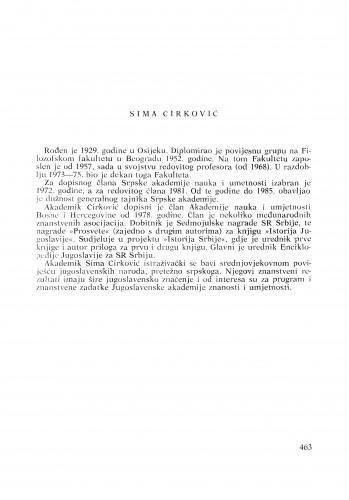 Sima Ćirković : [biografije novih članova Akademije]