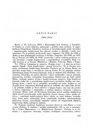 Antun Barac (1894-1955) : [nekrolog] / S. Musulin