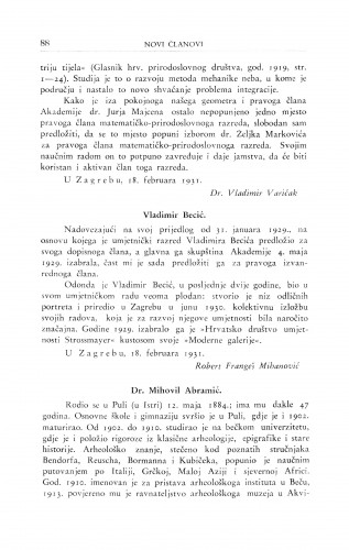 Dr. Mihovil Abramić ; Vladimir Becić / R. Frangeš Mihanović ; F. Šišić