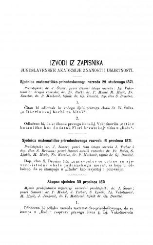 Izvodi iz zapisnika Jugoslavenske akademije znanosti i umjetnosti [1871-1872] : RAD