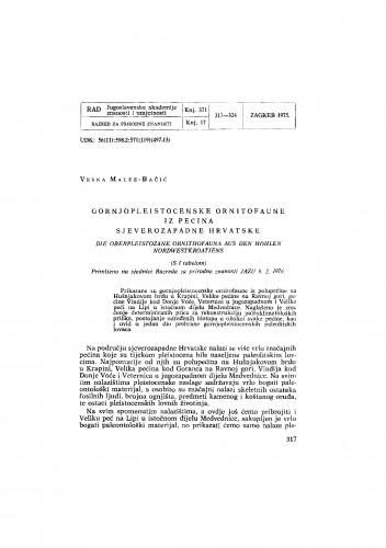 Gornjopleistocenske ornitofaune iz pećina sjeverozapadne Hrvatske