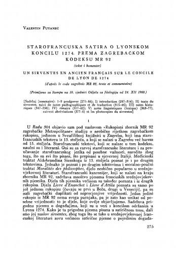 Starofrancuska satira o Lyonskom koncilu 1274. prema zagrebačkom kodeksu MR 92 : (tekst i komentar)