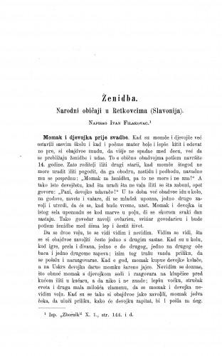 Ženidba : narodni običaj u Retkovcima (Slavonija) / I. Filakovac