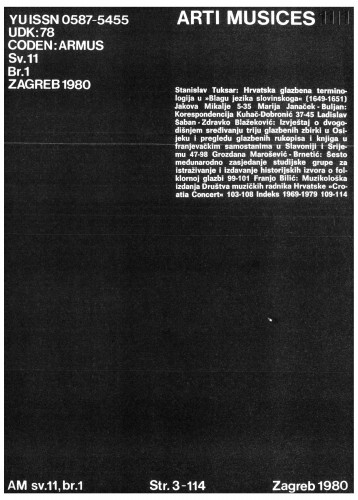 God. 11(1980), br. 1 : Arti musices