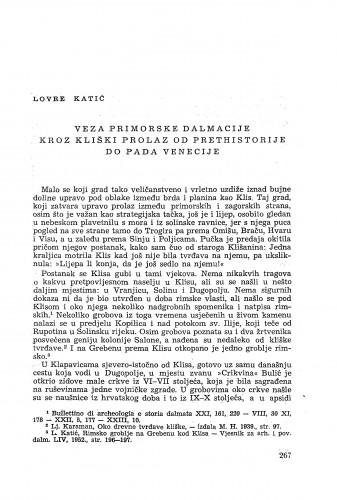 Veza primorske Dalmacije kroz kliški prolaz od prethistorije do pada Venecije / Lovre Katić