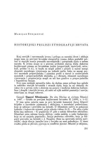 Historijski prilozi etnografiji Hrvata / M. Stojković