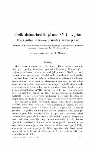 Jezik dalmatinskih pisaca XVIII. vijeka