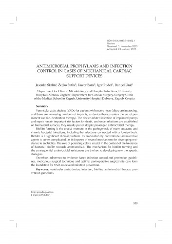 Antimicrobial prophylaxis and infection control in cases of mechanical cardiac support devices