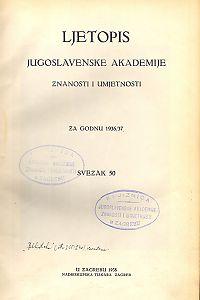 Za godinu 1936/37. Sv. 50 : Ljetopis