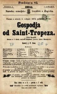 Gospodja od Saint-Tropeza : Drama u 5 činah / napisali Anicet - Bourgeois