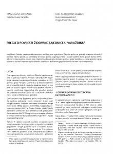 Pregled povijesti židovske zajednice u Varaždinu