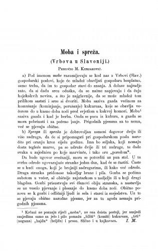 Moba i spreža : (Vrbova u Slavoniji) / M. Kurjaković