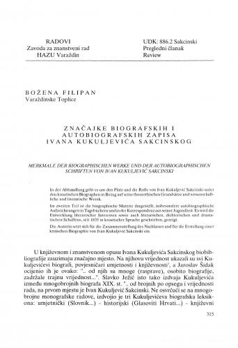 Značajke biografskih i autobiografskih zapisa Ivana Kukuljevića Sakcinskog : Radovi Zavoda za znanstveni rad Varaždin