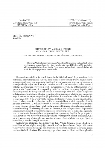 Historijat varaždinske gimnazijske ekstenze : Radovi Zavoda za znanstveni rad Varaždin
