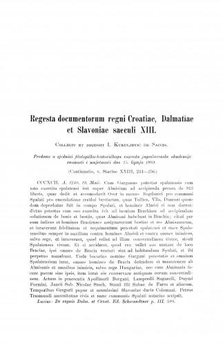 Regesta documentorum regni Croatiae, Dalmatiae et Slavoniae saeculi XIII / Ivan Kukuljević Sakcinski