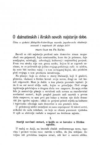 O dalmatinskih i ilirskih novcih najstarije dobe : RAD