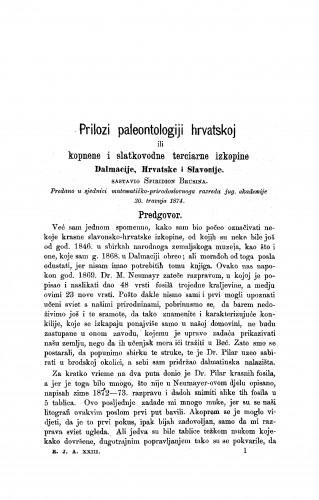 Prilozi paleontologiji hrvatskoj ili kopnene i slatkovodne terciarne izkopine Dalmacije, Hrvatske i Slavonije : RAD