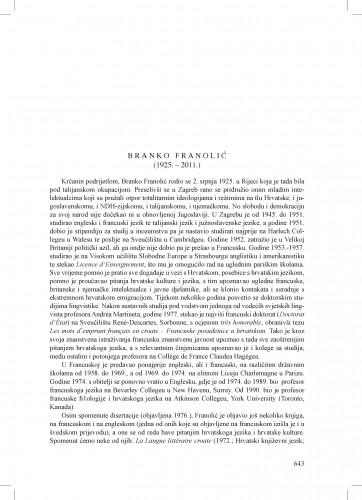Branko Franolić (1925.-2011.) : [nekrolog] : Ljetopis