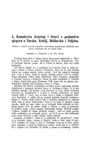 L. Komulovića izvještaj i listovi o poslanstvu njegovu u Tursku, Erdelj, Moldavsku i Poljsku / Paul Pierling i Franjo Rački