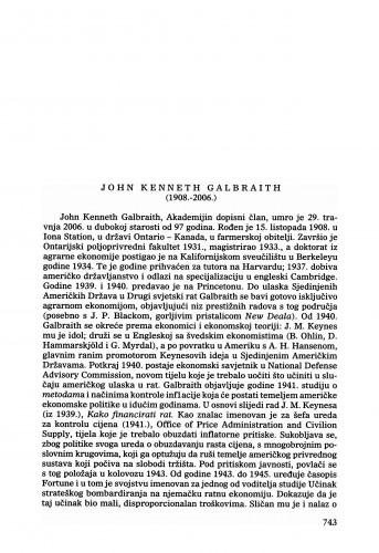John Kenneth Galbraith (1908.-2006.) : [nekrolog] : Ljetopis