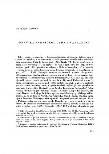 Pravila radničkog ceha u Varaždinu / Adolf Wissert