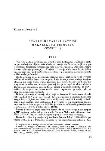 Stariji hrvatski natpisi Makarskog primorja (XV-XVIII st.) / Karlo Jurišić