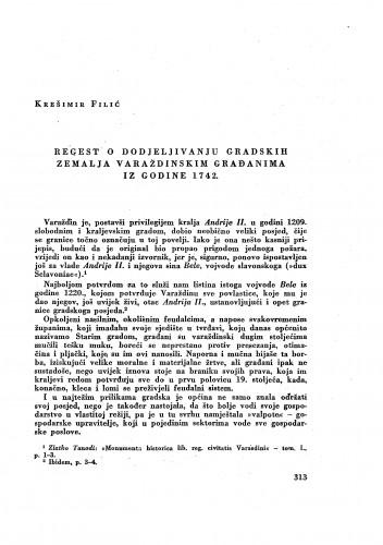 Regest o dodjeljivanju gradskih zemalja varaždinskim građanima iz 1742. / Krešimir Filić