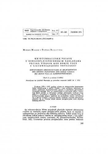 Krioturbacijske pojave u gornjopleistocenskim naslagama pećine Vindije kod Donje Voće u sjeverozapadnoj Hrvatskoj