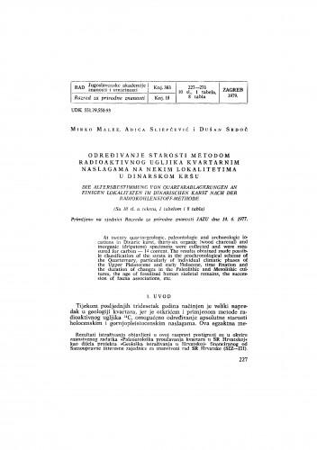 Određivanje starosti metodom radioaktivnog ugljika kvartarnim naslagama na nekim lokalitetima u Dinarskom kršu
