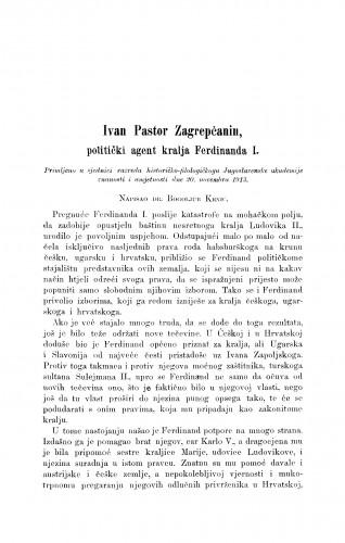 Ivan Pastor Zagrepčanin, politički agent kralja Ferdinanda I.