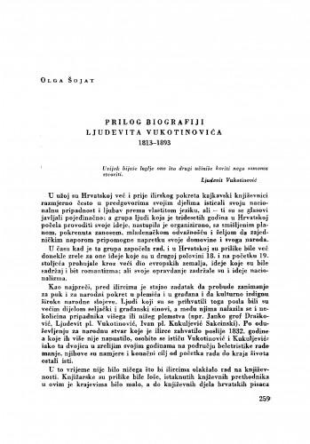Prilog biografiji Ljudevita Vukotinovića