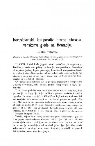 Novoslovenski komparativ prema staroslovenskomu glede na formaciju : RAD