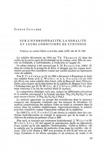 Sur l´hydrosodalite, la sodalite et leurs conditions de synthese