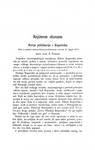 Novije publikacije o Koperniku : [književna obznana] : RAD