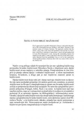 Šicel o Ivani Brlić - Mažuranić : Radovi Zavoda za znanstveni rad Varaždin