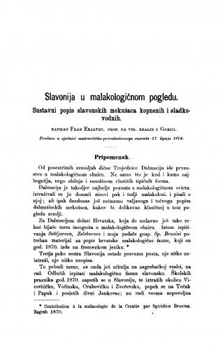 Slavonija u malakologičnom pogledu : RAD