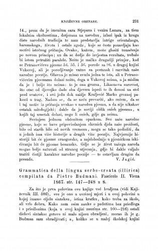 Grammatica della lingua serbo-croata (illirica) compilata da Pietro Budmani. Fasciclo II. Viena 1867 : [književna obznana] : RAD