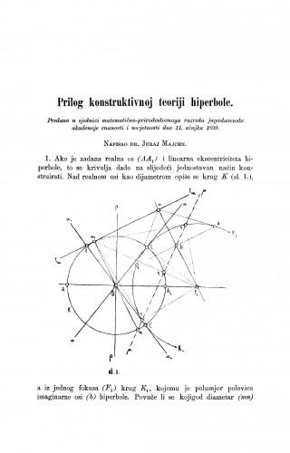 Prilog konstruktivnoj teoriji hiperbole