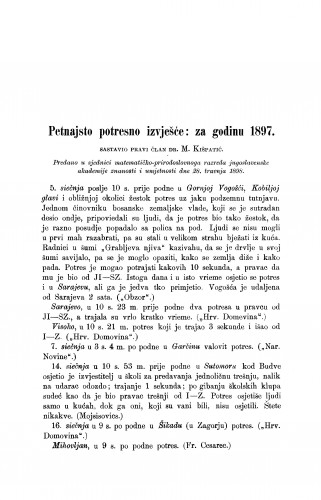 Petnajsto potresno izvješće: za god. 1897.