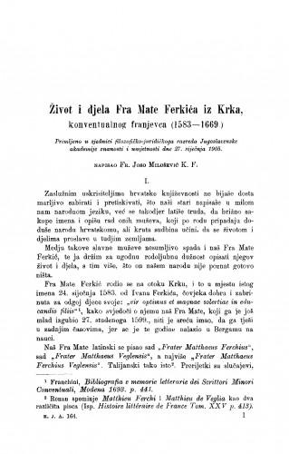Život i djela fra Mate Ferkića iz Krka konventualnog franjevca (1583-1669)