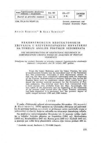 Rekonstrukcija neotektonskih zbivanja u sjeverozapadnoj Hrvatskoj na temelju analize pontskih sedimenata