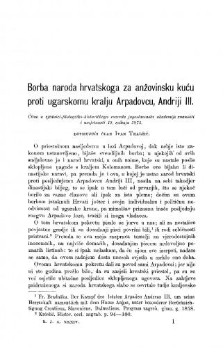 Borba naroda hrvatskoga za anžovinsku kuću proti ugarskomu kralju Arpadovcu, Andriji III. : RAD