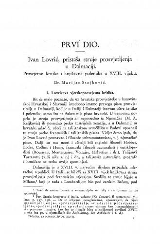 Ivan Lovrić, pristaša struje prosvjetljenja u Dalmaciji : prosvjetne kritike i književne polemike u XVIII. vijeku / M. Stojković