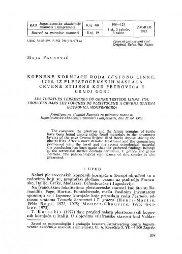 Kopnene kornjače roda Testudo Linné, 1758. iz pleistocenskih naslaga Crvene stijene kod Petrovića u Crnoj Gori