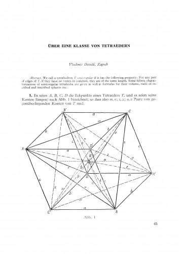 Ueber eine Klasse von Tetraedern